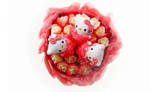 Букет из мягких игрушек 3 котенка (арт.C035) красный