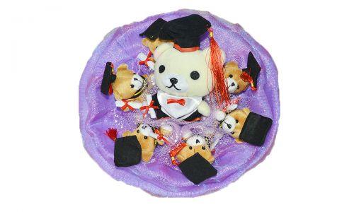 Букет из мягких игрушек 7 медвежат (арт.B291) фиолетовый