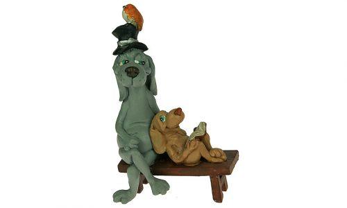 Декоративная фигурка Собачки на лавочке